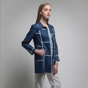 Jackets & Blazers - Graphic Linen Navy Car Coat Jacket